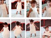 robe pour petite fille dans taie d'oreiller vintage