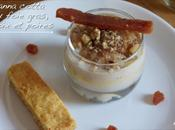 Panna cotta foie gras, poires, noix coings Short bread salé épicé