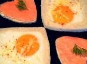 Oeuf plat saumon fumé toasts rigolos