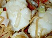 Nouilles sautées cabillaud légumes croquants