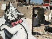 CHAT ATTRIBUE BANKSY RUINES D'UNE MAISON BANDE GAZA (Israël-Palestine)