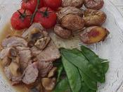 Rôti veau champignons, tomates confites, petites rattes soufflees