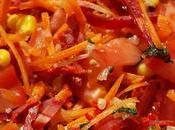 Salade légumes chorizo, vinaigrette vietnamienne Vegetable chorizo salad with Vietnamese dressing