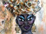 Canvas mixed media femme africaine