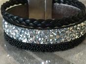Bracelet manchette cuir noir argent pailleté