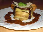 Charlotte d'aubergines crevettes, madeleines parmesan