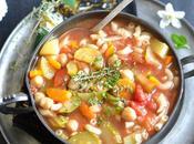 Minestrone végétal pois chiches Cuisson Crock-Pot