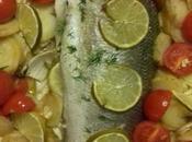 loup mer, petits légumes citron vert four