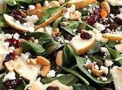 Salade d'épinard, poire, canneberges séchées, fêta noix