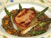 Sandre foie gras poêlés, lentilles pointes d'asperges vertes