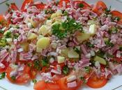 Salade pomme terre, jambon, comté, tomate
