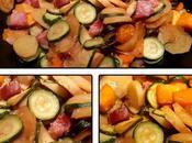 Poêlé légumes citrouille, pommes terre, cougettes saucisse Morteau