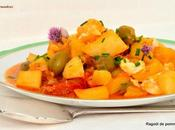 Ragoût pommes terre, tomates cerise olives.