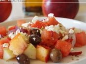 Salade estivale pastèque, concombre brugnons
