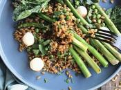 Salade petit épeautre Haute Provence asperges vertes rôties