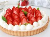 Tarte fraises amande crème diplomate menthe