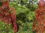 Entretiens l'Art Culture, retour Armatures d'Hervé Beuze, dans jardin sculptures Fondation Clément