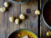 Soupe potimarron pancetta noisettes