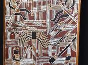 Focus peinture écorce aborigène Galuma MAYMURU