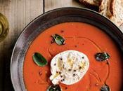 Soupe tomates basilic burrata