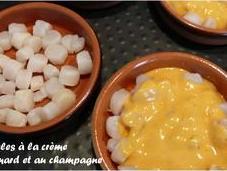 Réveillon pétoncles crème homard Champagne